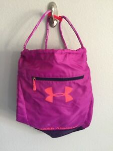 Under Armour Sackpack Slingbag Backpack Girls Women Pink with purple trims - EUC