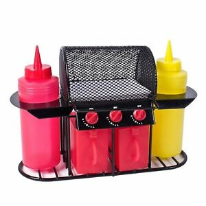 Novelty BBQ Grill Condiment Salt Pepper Shaker Sauce Bottle Outdoor Dispenser
