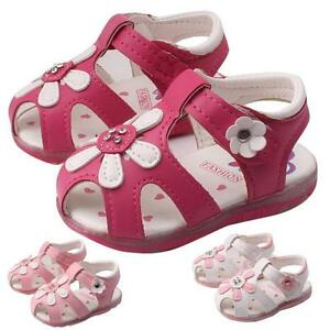 Toddler Sunflower Girls Sandals Lighted Soft-Soled Princess Shoes Baby Shoes