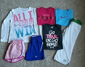 Under Armour Nike Girls Lot Large L YLG Shirts Pants Shorts Pink Breast Cancer