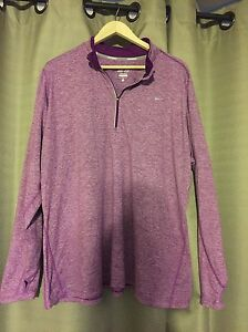 WOMENS NIKE ELEMENT 2X PURPLE PULLOVER LONG SLEEVE ATHLETIC SHIRT DRIFIT RUNNING