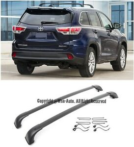 For 14-15 Toyota HighLander XLE 2 PCs Black Top Roof Luggage Carrier Cross Bar
