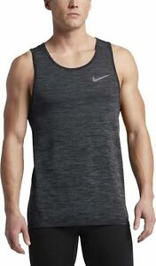 NEW MENS L LARGE NIKE DRI FIT KNIT RUNNING TANK TOP SHIRT DARK GREY BLACK 834230