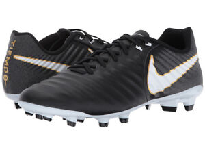 Nike TIEMPO LIGERA IV Mens Black Firm Ground Outdoor Soccer Cleats Shoes