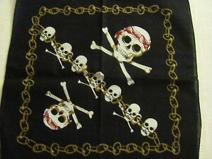 SKULLS CROSSBONES PIRATES AND CHAINS PRINT BANDANA IN RED WHITE GOLD BLACK