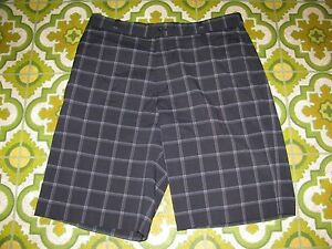 Nike Core Mens Black Gray Plaid Flat Front Golf Dri Fit Athletic Shorts Waist 33