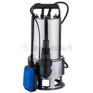 1.5HP Dirty Water Pump Stainless Steel Water Submersible Pump Silver Sewage Pump