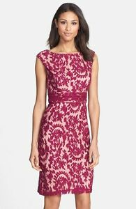 ADRIANNA PAPELL lace overlay crushed berry SHEATH DRESS sz 2 $39.99