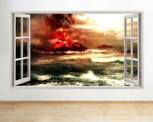 Wall Stickers Volcano Lava Explosion Sea Window Decal 3D Art Vinyl Room D725