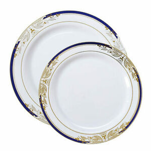 Wedding Party Disposable Plastic Plates & silverware white  blue gold
