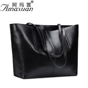 Women Genuine Cowhide Real Leather Shoulder Bag Tote Bags Handbag Shopping Purse