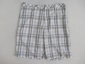 Ashworth Men's Madres Flat Front Plaid Golf Shorts WhitteGray Size 34W New