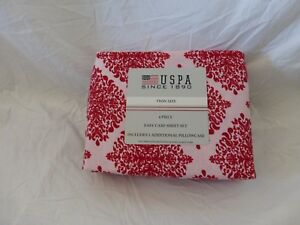 3 pc USPA Pink & Red Twin Sheet Set NIP