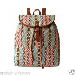 Bohemian Pattern Backpack Schoolbag with Leather Straps Travel Bag Unisex