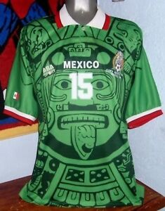 ABA SPORT MEXICO WC1998 HERNANDEZ PLAYER AUTHENTIC ORIGINAL MATCH JERSEY SHIRT