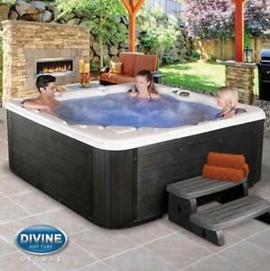 Divine Hot Tubs Langley 76-Jet 6-Person Non-Lounge Spa BLK SHIPS FROM FACTORY