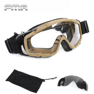 FMA Tactical Ballistic Goggle Glasses for Helmet 2 Lens Airsoft Shooting Hunting