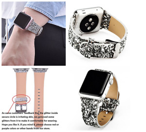 Leather Bling Luxury Iwatch Band Wristwatch Bracelet Strap Apple Watch 42mm NEW