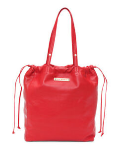 VIA SPIGA lipstick red soft leather drawstring tote handbag nwt