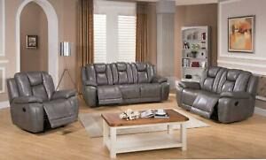 Top Grain Leather Smoke Grey Reclining Sofa Set 3Pcs Amax Leather Austin