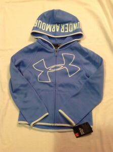 Girls Youth Under Armour Big Logo Full Zip Hoodie Royal Blue Size 5 NWT