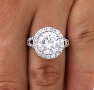 4.00 Ct Round Cut Dvs1 Diamond Solitaire Engagement Ring 14k White Gold Xmas
