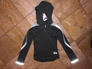 Nwt $65 Under Armour Reflective Hoodie Pullover Fleece Sweatshirt Youth Girl's S
