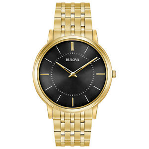 Bulova Classic Men's 97A127 Quartz Black Dial Gold Tone Bracelet 40mm Watch