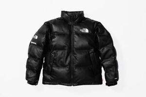 Supreme X The North Face® Leather Nuptse Jacket Black RARE MEDIUM
