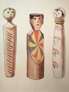 Folk Toys Antique Print Stone lithograph French matted  Wooden Dolls NO REPRO
