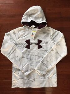 NWT Womens Under Armour Cold Gear Snow Camo Hooded Sweatshirt Hoodie Size S