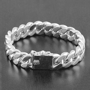 Mens Solid 925 Sterling Silver Cuban Curb Link 15mm Wide 8.5