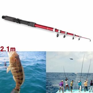USA Portable Fishing Pole Tackle Carbon Fiber Spinning Lure Rod 1.5 M NEW