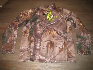 NWT Under Armour Realtree Camo Hunting SCENT CONTROL Pullover. Boys Large YLG