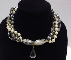STATEMENT Necklace Hematite Agate Pearl  Crystal Wdrop Pendent 18