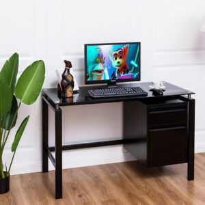 Computer Desk Glass Top Metal Frame PC Laptop Table Study Workstation w Drawers