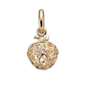 Genuine Story Sterling Silver Gold Plated CZ set Heart Apple charm 5208820 £59 GBP 29.50