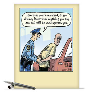 J9774 Jumbo Funny Anniversary Card: Married Arrest With Matching Envelope cards