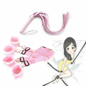 Pink Under Bed Strap Four Detachable Cuffs with Faux Leather Whip Role Play Set $15.99