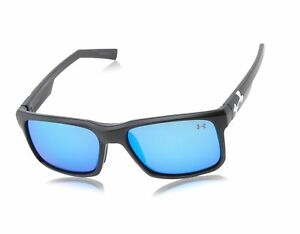 Under Armour Unisex Align Sunglasses Satin Black Gray & Blue Multiflection