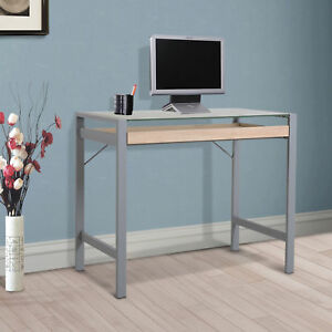 Modern Wood Frosted Glass Steel Computer Desk PC Laptop Writing Table w Drawer