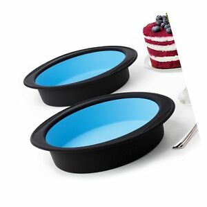 Pack of 2 Big Round Cake Pie Tart Black and Blue Silicone Mold Pans - Thick S...
