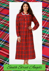 LANZ OF SALZBURG RED PLAID Peter Pan Collar LONG FLANNEL Nightgown SMALL $66.60