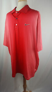 TIGER WOODS COLLECTION NIKE GOLF DRI-FIT POLO SHIRT RED METAL SNAP XXL