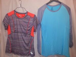 Lot of 2 Champion Duo Dry Fila Shirt Running Aqua Orange Stripes Women's XL NWOT