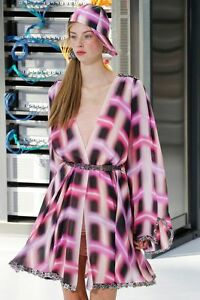 NWT CHANEL Runway Embellished  Plunging Neckline Wrap  Dress FR34  $20000