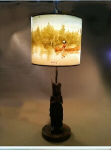 Rare Hand Painted Vintage Style Lamp On Antique Chief  Pecan Shell Casting
