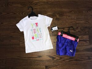 Toddler Girl Under Armour Outfit Shirt Shorts Purple Polyester Size 3T