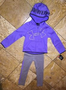 NWT Under Armour Youth Purple Glitter Logo Hoodie Sweat Jacket Pants Set Girls 4