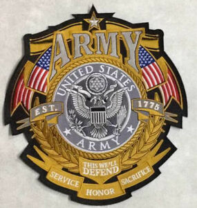 US ARMY SHIELD CUSTOM BIKER MILITARY quot;ARMYquot; LG BACK PATCH 11quot; tall x 10quot; wide